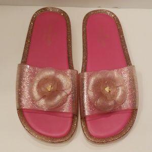 Kate Spade pink glitter jelly slides size 8